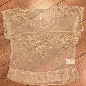 Free People Vicki Mesh Sheer Embroidered Top